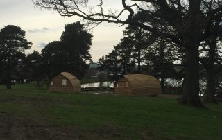 wide view of glamping cabins