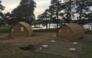 Rear view of glamping cabins