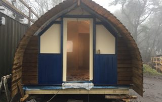 Front of glamping cabin