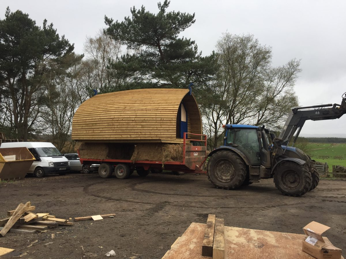 Moving the 1st cabin on to the site
