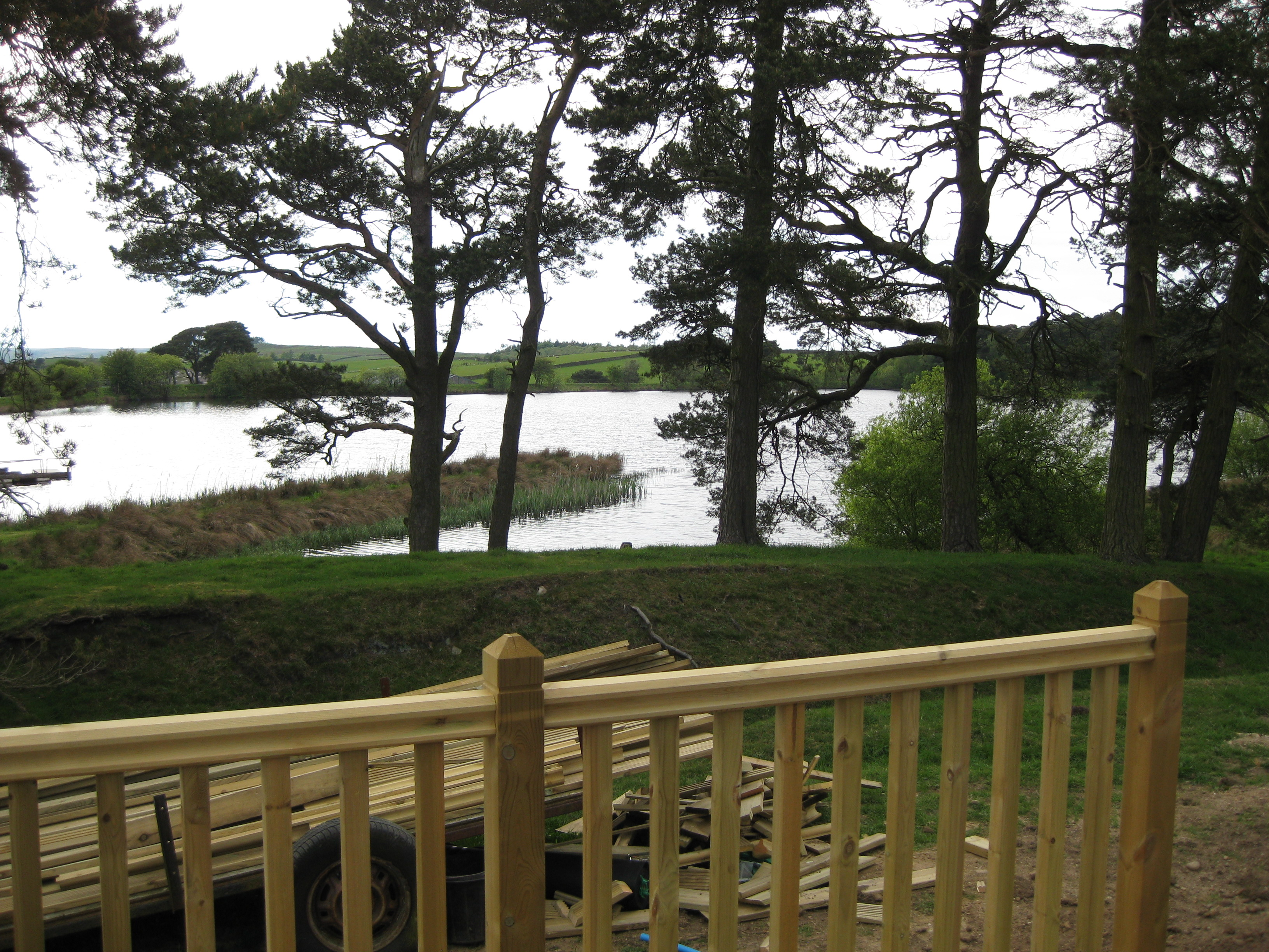 View of the lake from the glamping site