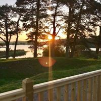 Sunset view from the glamping cabin decking
