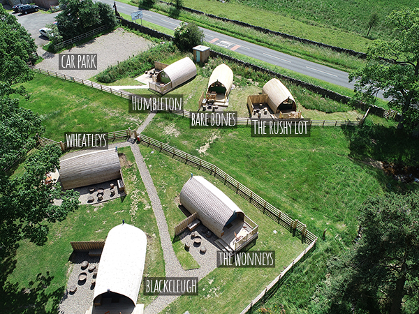 Overhead view of the cabins